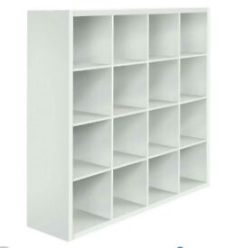 A brand new good quality white finish 16 cube open display unit.