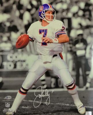 John Elway Signed Broncos 16x20 PF Photo B&W Spotlight - Beckett Auth *White John Elway Signed Photograph