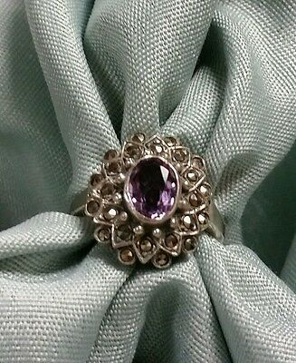 Vintage Sterling Silver Amethyst Marcasite Art Deco Style Ring Size 5
