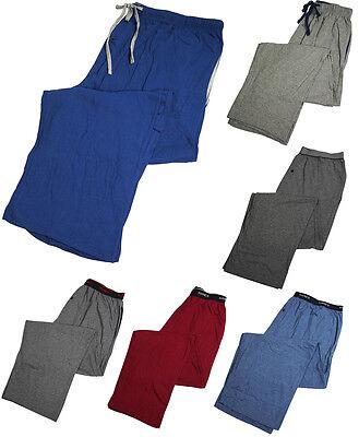 Hanes Mens Solid Knit Sleep Lounge 60/40 Cotton Poly Blend Elastic Waist Pants ()