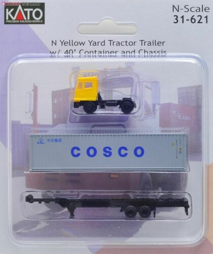 Kato N Scale ~ New 2021 ~ Yellow Yard Tractor W/ Chassis & 40
