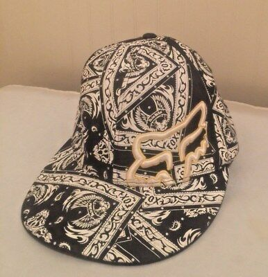FOX Racing Flexfit Hat Cap Graffiti Print Allover Riders Company Sz S/M Logo -