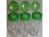 3 Schwartz Green Lids Clear Glass EMPTY Refillable Vintage Spice Jars.