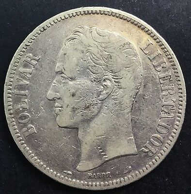 Click now to see the BUY IT NOW Price! VENEZUELA 1905  GRAM 25 5 BOLIVARES SILVER CROWN DECENT LOWER GRADE