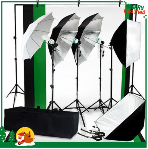 Photo Studio Photography Kit 4 Light Bulb Umbrella Muslin + 3 Backdrop Stand Set