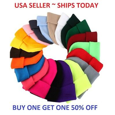 (Beanie Plain Knit Hat Winter Warm Cuff Cap Slouchy Skull Ski Warm Men Woman)