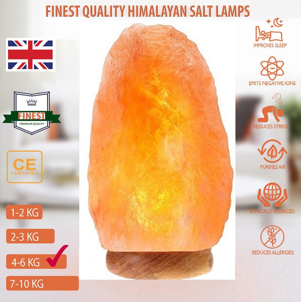 Plug /& Bulb Included Desk Lamp Natural Himalayan Rock Salt Lamp On Wooden Base
