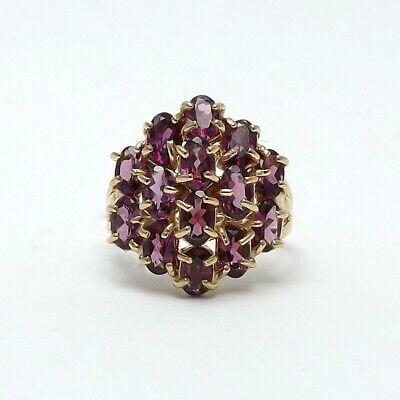 10K Gold Rhodolite Garnet January Birthstone Cluster Cocktail Ring SZ 5.5 ()
