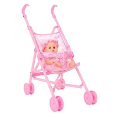 Baby Infant Doll Stroller Carriage Foldable With Doll For 12inch Doll Barbie EC - Pram Doll Stroller