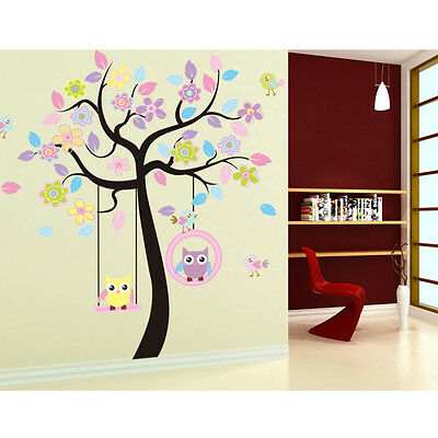 Vivid Owl Swing Flower Tree Wall Decal Removable Stickers Decor Art Baby Kids