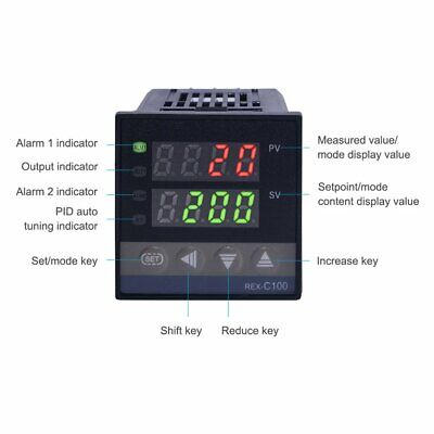 Rex-c100 Dual Led Digital Pid Temperature Controller With K Type Probe Sensor K5
