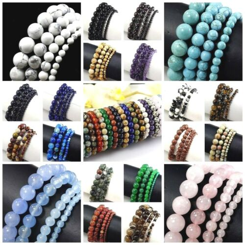"Handmade Natural Gemstone Bracelet Round Bead 7.5"" Elastic Reiki 4 6mm 8mm 10 12"