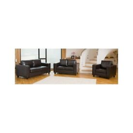Brand New Manhattan 3+2 Seater Faux Leather Sofa Suite in Black & Brown Colour, Arm chair available