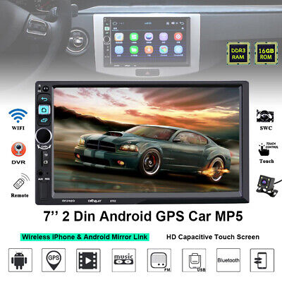 "Navigation MP5 Player Bluetooth 2Din Camera 7"" GPS Stereo Touch Screen Car Radio"