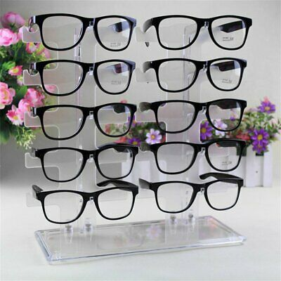 2 Row 10 Pairs Sunglasses Glasses Rack Holder Frame Display Stand Transparent Gw