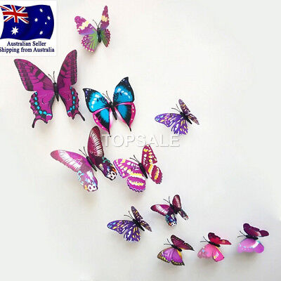 Home Decoration - 3D Butterfly Wall Sticker Home Decor, wedding decor Removable 12Pcs Purple