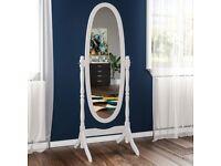 NEW - Nishano Cheval Floor Standing Wooden Oval Mirror, White 145 cm hight