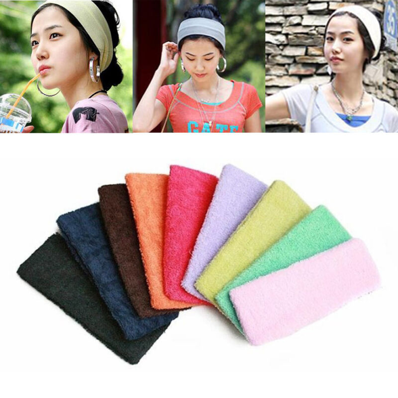 Women Men Sport Sweat Sweatband Cotton Headband Yoga Gym Stretch Head Hair Band@