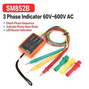 SM852B 3 Phase Rotation Sequence Indicator Meter Tester Detector 60V-600V NN