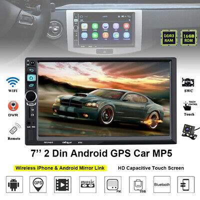 "GPS Bluetooth Touch Screen Navigation Stereo 7"" 2Din Camera MP5 Player Car Radio"