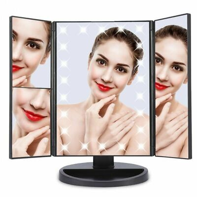 22 LED Light Mirror Make Up Mirror With 2X 3X Magnifying Dressing Table Black UK