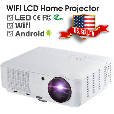 LED Smart Home Theater Projector Android 6.0 4K Wifi BT 1080p FHD 3D Video NEW