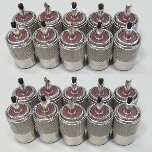 NEW 20 Pack PL-259 solder connector plugs for RG8 LMR400 coax cable *USA Seller*