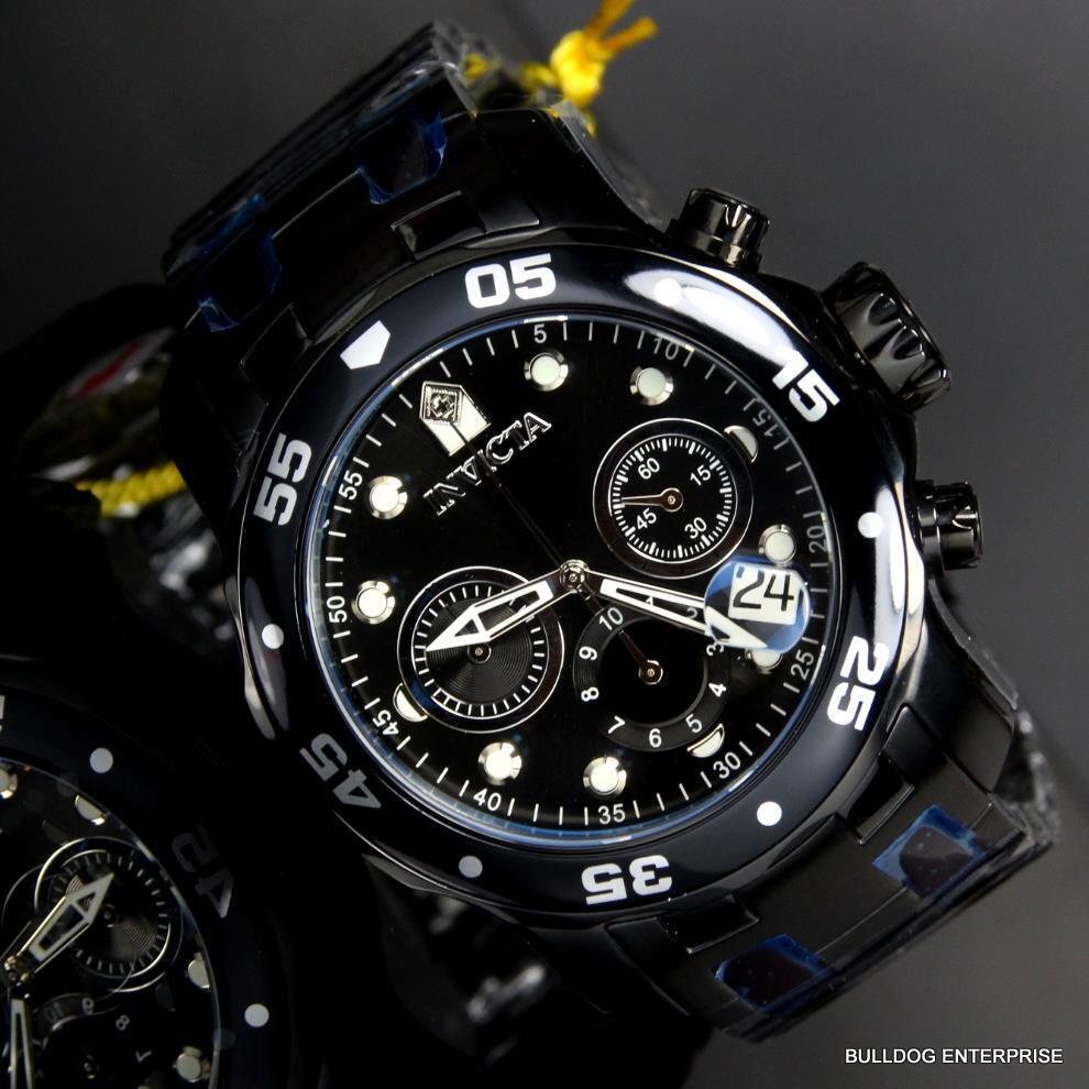 $119.99 - Invicta 48mm Pro Diver Scuba Black Steel Chronograph Swiss Parts Watch New