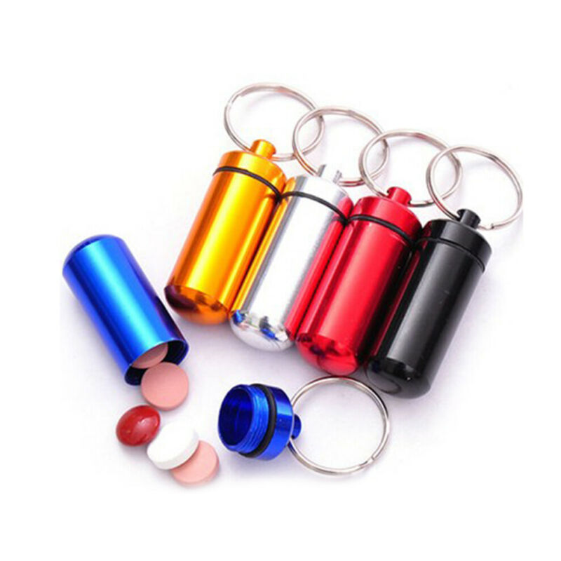 Waterproof Mini  Metal Medicine Pill Box Case Bottle Holder