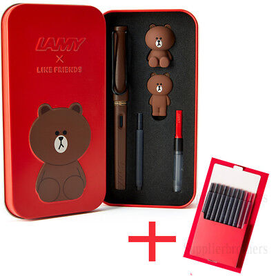 Line Friends X LAMY Safari Fountain Pen Brown in RED Limited Edition + Cartridge