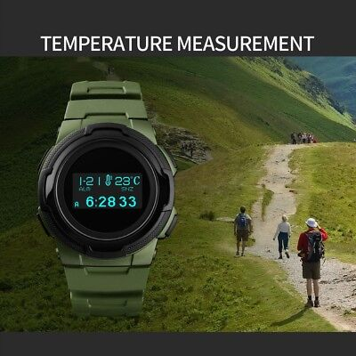 Skmei Mens OLED Smart Sports Watch Compass Thermometer Calorie Alarm Wristwatch