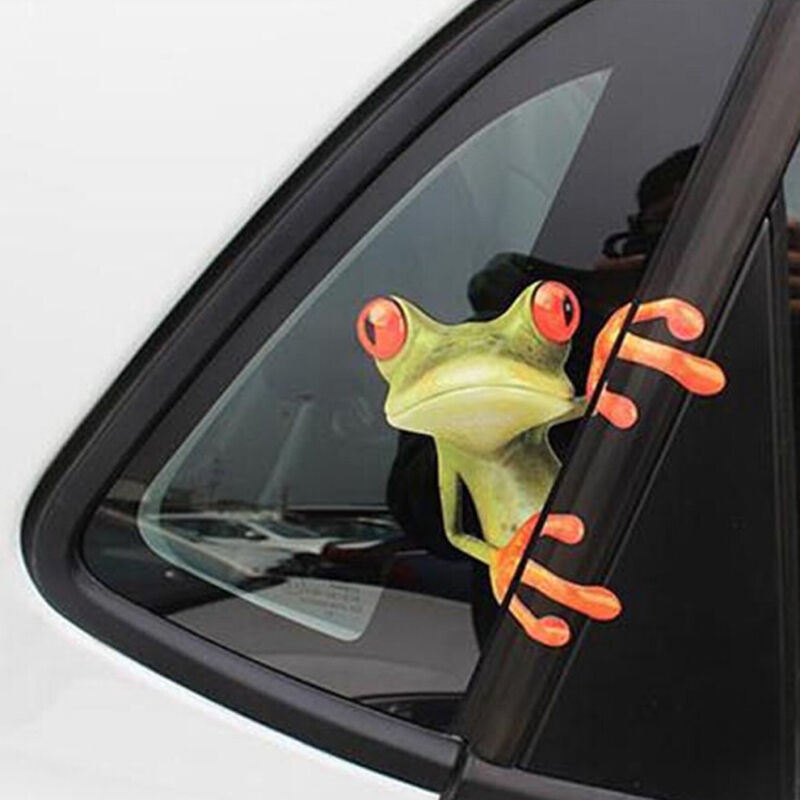 3D Funny Green Lying Frog Wall Truck Window Vinyl Decal Car Sticker HOT