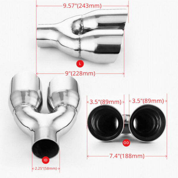 """Quad Exhaust Tailpipe Tip 2.25/"""" 58MM Inlet 3.5/"""" 89MM Out Angle Cut Staggered"""