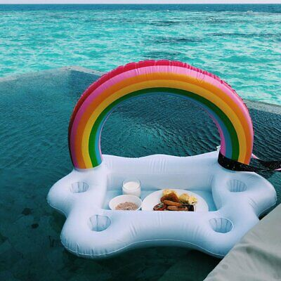 Rainbow Cloud Cup Holder Inflatable Pool Float Table Bar Tray Swimming Ring NS