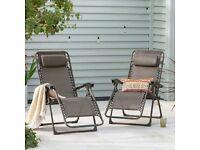 Set of 2 Bronze Zero Gravity Reclining Sun Lounger Helsinki Chairs Dunelm