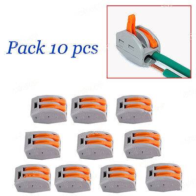 10pcs Spring Lever Terminal Block Electric Cable Wire Connector 2 Way Lr