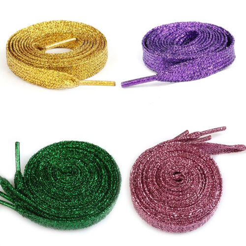 1 Pair Pearlized Glitter Shoelace Canvas Sneaker Flat Shoe Lace Polyester
