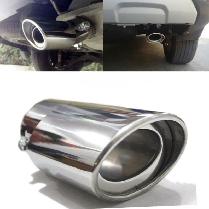 Car Stainless Steel Exhaust Trim Tip Muffler Pipe Silver Chrome Tail Throat Pipe Car & Truck Parts