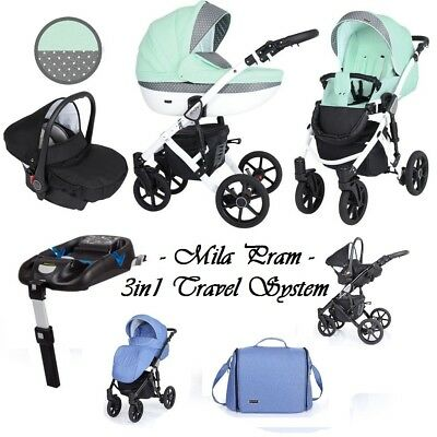 MILA BABY TRAVEL SYSTEM 3in1 PRAM PUSHCHAIR CAR SEAT NEW 19 COLOURS 2019+