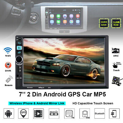 "Camera Car Radio MP5 Player Navigation Bluetooth Stereo 7"" Touch Screen 2Din GPS"