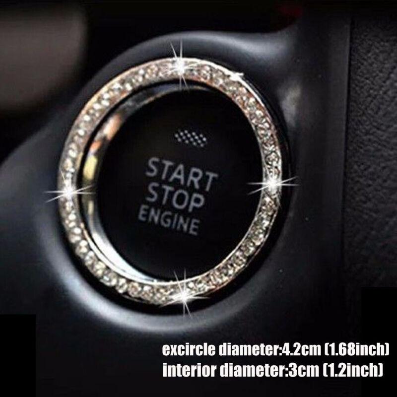 1 Piece Car SUV Decorative Silver Accessories Button Start Switch Diamond Ring