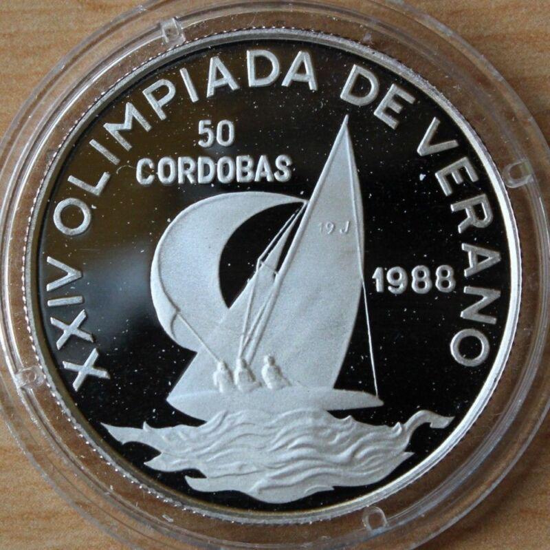 1988 Nicaragua Silver Proof 50 Cordobas Olympic Sailing