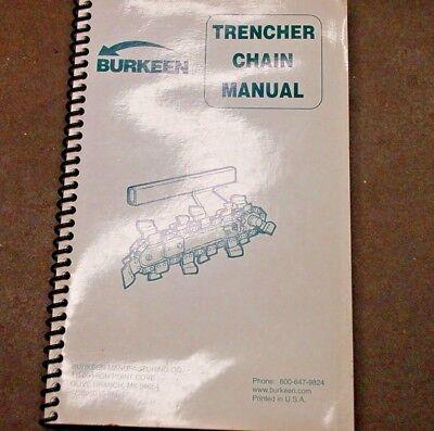 Bobcat Burkeen Trencher B9 B16 B13 T208 T209 T303 T305 Chain Parts Manual Book