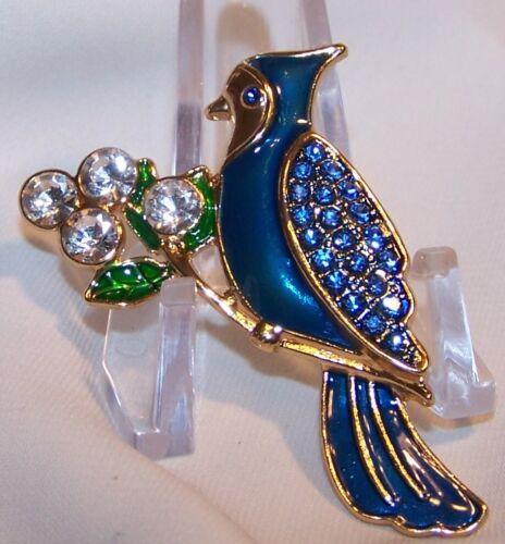 Blue Jay Bird Figural Pin Brooch-Enamel Rhinestone-Signed LC-Liz Claiborne-New