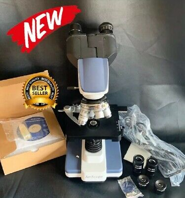 New Amscope 40x-2500x Led Digital Binocular Compound Microscope 3d Usb Camera