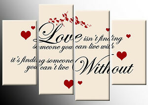 LOVE ISN'T FINDING CANVAS RED CREAM BLACK QUOTE PICTURE 4 PANEL WALL ART 100cm