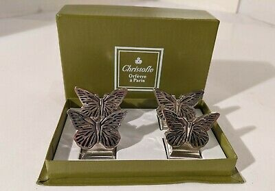 (4) French Christofle Orfevre Paris Silverplate Butterfly Place Card Holders IOB