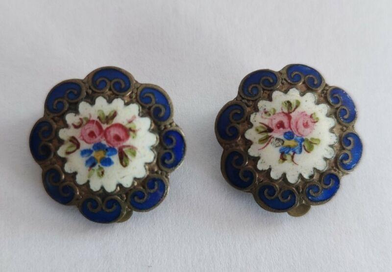 Edwardian enamel clip on earrings
