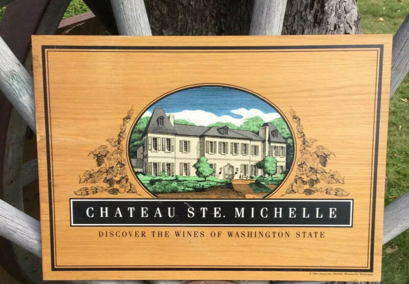 Vintage 1980s Wooden CHATEAU STE. MICHELLE Wineary Vineyard Advertising Sign WA