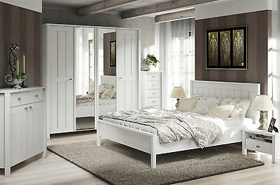 Landhaus Schlafzimmer komplett 4-teilig mit Kleiderschrank weiß Neu